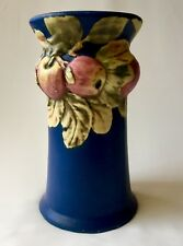 Weller Baldin Antique American Art Pottery Dark Blue Apple Tree Large  Vase.