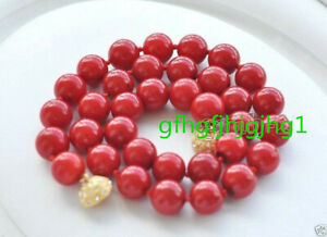 """10mm Coral Red South Sea Shell Pearl Round Gemstone Necklace 18""""AAA"""