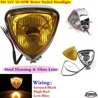Motorcycle Retro Triangle Headlight Head Light Head Lamp For Harley Cafe Racer