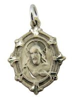 Sterling Silver Baroque Style Scapular Medal w Our Lady of Mt Carmel Back 13/16""