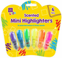 6 x Mini Fruit Scented Coloured Highlighters Pens Stationery School Children Kid