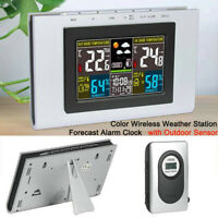 Color Wireless Weather Station Forecast Alarm Clock Temperature w/Outdoor Sensor