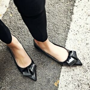 Ladies Spring Pointed Toe Patent Leather Bowknot Ballet Flats Loafers Flat Shoes