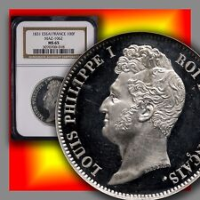 FRANCE 1831 100-Francs Essai Pattern Maz-1062 NGC MS 65 Finest & Amaizing