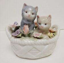 "Anna Rosa Cat Kitten Music Box San Francisco Music Box Co Porcelain ""Memory""."