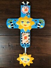 New ListingWhimsical Shannon Smith Hand Painted Hanging Ceramic Cross - Suns Fish Palm Tree
