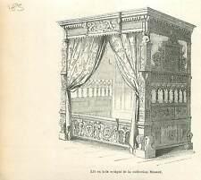 Lit à baldaquin Collection Minard Bruxelles Brussel GRAVURE ANTIQUE  PRINT 1880