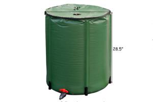 Portable Rain Barrel Plastic Water Collector 53 Gallon Collapsible Green