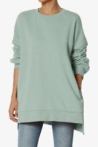 TheMogan S~3X Crew Neck Hi-Low Pocket Long Sleeve Boyfriend Pullover Sweatshirts