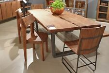 "79"" L Dining table live edge iron black legs solid acacia wood top spectacular"