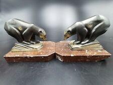 ANCIENNE PAIRE DE SERRE LIVRES ART DECO à L'OURS en régule marbre - bear bookend