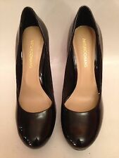 Arturo Chiang Black Patent Leather Platform Heels Shoe 9M Excellent
