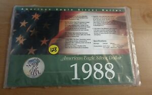 1988 Painted American Eagle Silver Dollar in Collectors Card