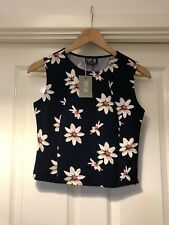 Poppy Lux Crop Top Blue And Pink Colour Pattern Size 8 Floral Print Fitted Top
