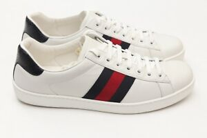GUCCI Ace Classic Blue Red Detail Web White Mens Low Sneakers US 9.5 / 8.5 G
