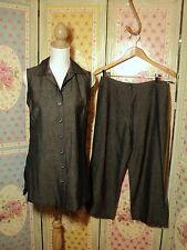 viviannes collection french  grey pant suit.  linen mix  long tunic  crop pants