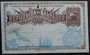 1892 El Salvador 2c brown Columbus Stamped Postcard Unused