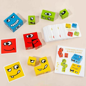 Wooden Expression Puzzles Building Block Magic Face Changing Cube Montessori Toy