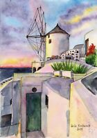 Greece. Santorini original watercolor landscape painting ocean sea marine island