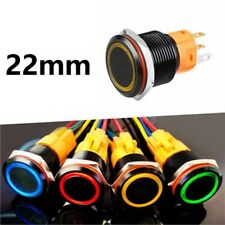 22mm Tri-color LED Momentary Ring illuminated Stainless steel Push button Switch