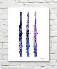 Flute Abstract Watercolor Painting Music Band Art Print by Artist DJ Rogers