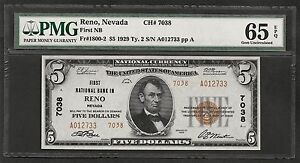 NV 1929 $5 TYPE-TWO ❀❀RENO, NEVADA❀❀  PMG GEM UNC 65 EPQ