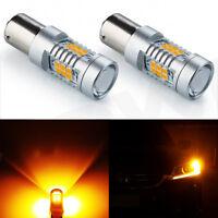 JDM ASTAR 2x 1157 BA15S Amber SMD High Power LED Back Up Turn Signal Light Bulbs