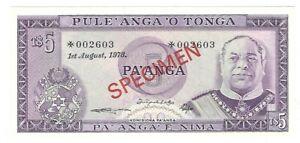 Tonga - Five (5) Pa'anga 1978 !!Specimen!!