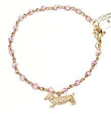 bracciale cane bassotto CRIVELLI in oro rosa 18kt diamanti ct0,29 e zaffiri rosa
