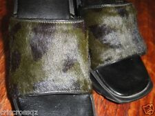 Designer OLIVE GREEN & BLACK Leather & PONY HAIR Wedge SLIDES Sandals * 8 * EUC