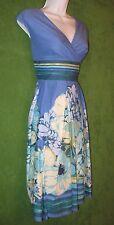 Liz Claiborne Blue Multicolor Floral Stripe Cotton Empire Work Dress 10 $89