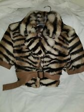 RABBIT BOMBER JACKET BROWN STRIPED PRINT LOU ANDREA SZ M