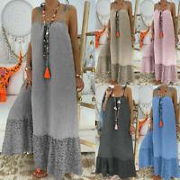 Casual Long T-Shirt Maxi Summer Hem Dress Sleeveless Cotton Women Plus Lace Size