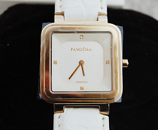 Genuine Pandora Watch Grand Cushion with 4 Diamonds, White Leather, 812031WH