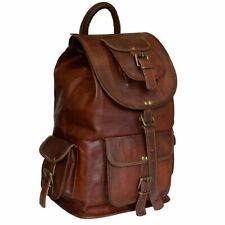 "Mens New 20"" Genuine Leather Vintage Laptop Backpack Rucksack Travel School Bag"