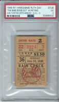 THE BABE BOWS OUT JUNE 13 1948 TICKET YANKEES BASEBALL BABE RUTH FAREWELL PSA 3