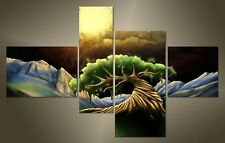 "LARGE ABSTRACT TREE CANVAS WALL PICTURE SPLIT 4 PANELS FLASH ART 43"" 28"" 2607"