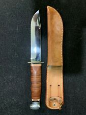 KABAR 1207 USA Fighting/Hunting Knife w/Sheath, Stacked Leather Handle