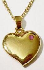 pendentif chaine bijou vintage coeur plein petite pierre rouge couleur or * 4923