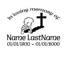 In Loving Memory Cross Prayer Custom Vinyl Decal Sticker Car Truck Home Window