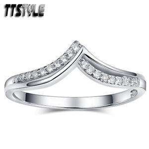 TTstyle RHODIUM 925 Sterling Silver Engagement Anniversary Wedding Ring NEW