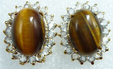 Real Tigereye Tiger's Eye Opal Yellow Gold Plated Crystal Stud Earrings