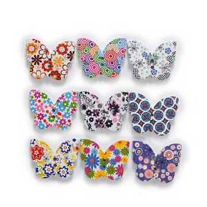30pcs Butterfly Wood Button Sewing Scrapbooking Clothing Headwear Decor 25x20mm