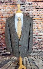 VTG Harris Tweed 40R Grey Herringbone 2 Button Wool Sport Coat Jacket Blazer EUC