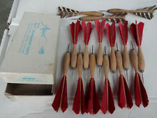 12 Vintage Apex Official No. 2 Wood Tournament Darts + Box - Expert Red + 3 more