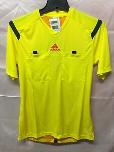 Adidas Mls FIFA Soccer Referee Jersey Yellow Short Sleeve Size Men's Small