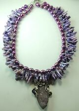 Statement 2 Strand Lilac Pearl Necklace with Amethyst Geode Sterling Silver