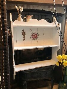 Handpainted Gorgeous Wall Shelf Unit . Three Shelves - Lovely painted style