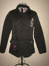"A WOMENS PAULS BOUTIQUE QUILTED BLACK COAT SIZE L  POP BUTTONS  APPROX 19 ""ICHES"