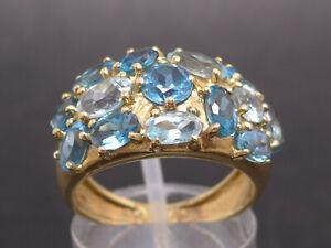 Goldring Ring 375 GOLD 9 Karat Gelbgold Blautopas Aquamarin bague Topas Art Deco